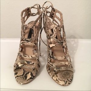 Topshop Brown Nude Snake Skin Lace up Heel
